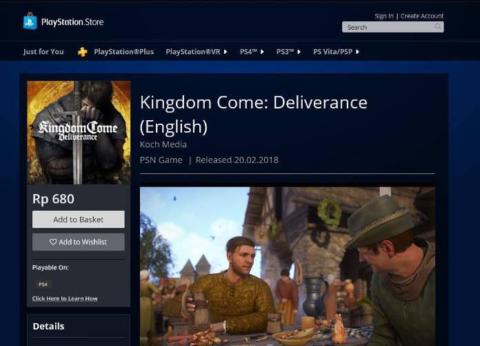Kingdom Come Deliverance - 0.05 dollars sur la PlayStation Indonésien