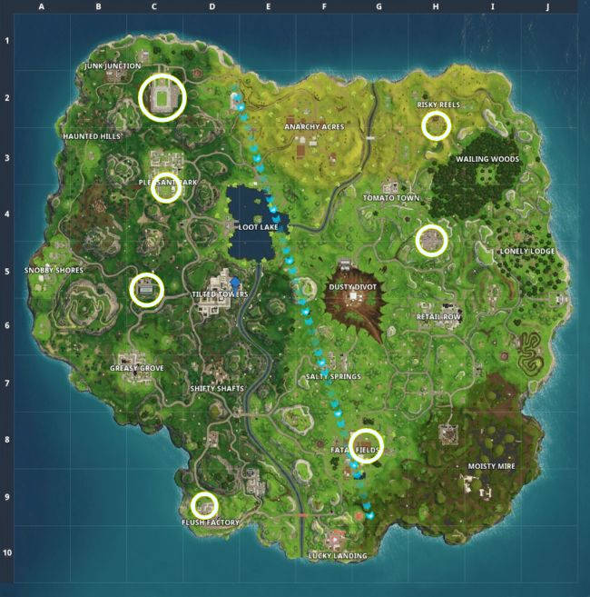 Fortnite - Où sont les terrains de foot de Fortnite - Marquer un but - carte des emplacements de terrains de foot