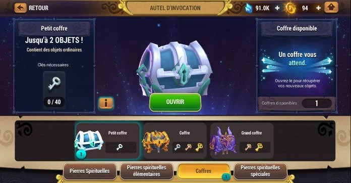 Test - Might & Magic Elemental Guardians - L'univers M&M sur mobile - Coffres
