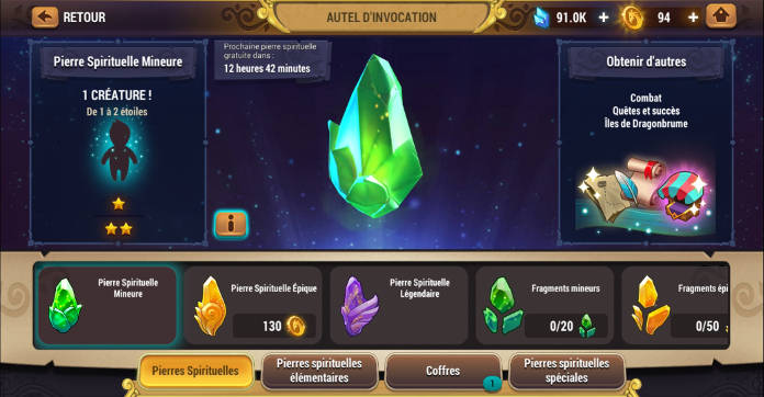 Test - Might & Magic Elemental Guardians - L'univers M&M sur mobile - pierre spirituelle