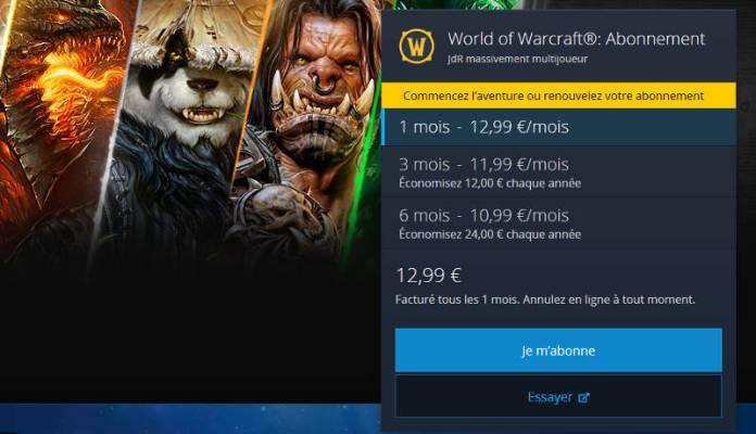 Abonnement Wow - prix abonnement World Of Warcraft