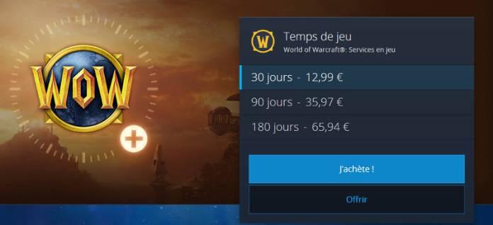 Abonnement Wow - prix temps de jeu World Of Warcraft