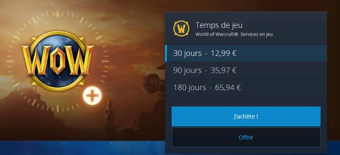 Abonnement Wow - prix temps de jeu World Of Warcraft