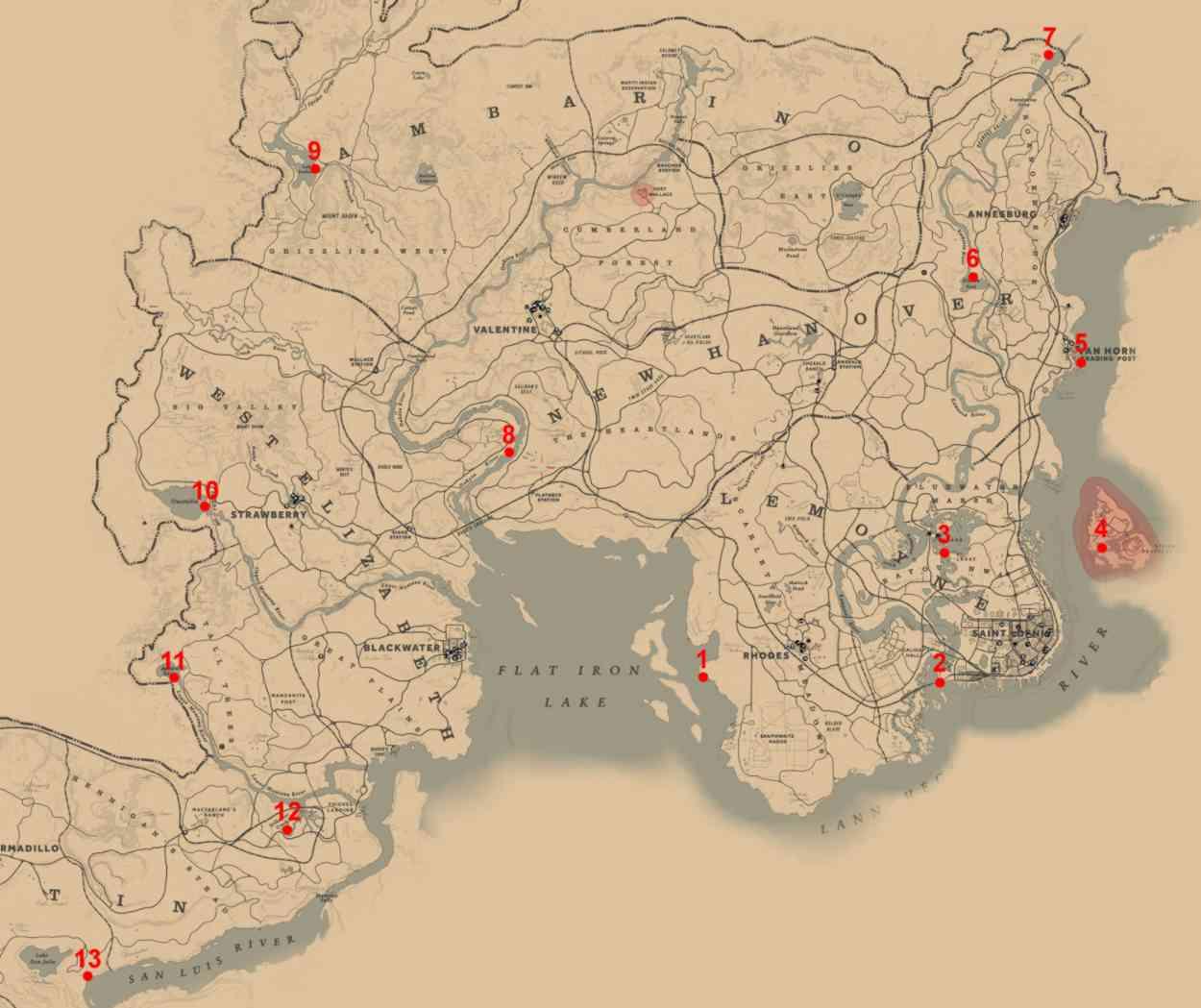 RDR2 Carte Emplacements Poissons Légendaires
