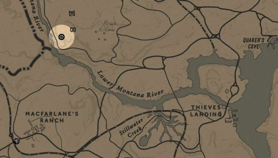 RDR2 emplacement Trappeur 5 dans la région de Tall Trees - trappeur 5