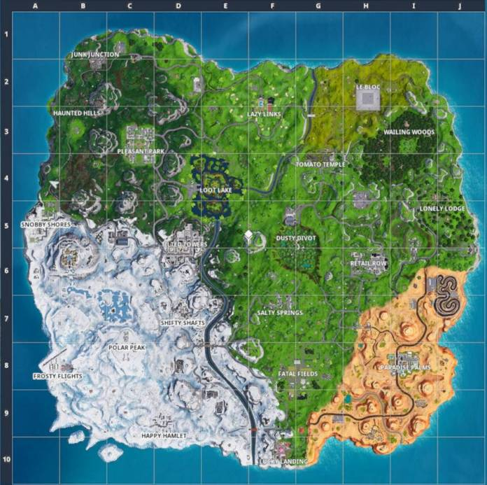 Fortnite Carte du 10 janvier 2019