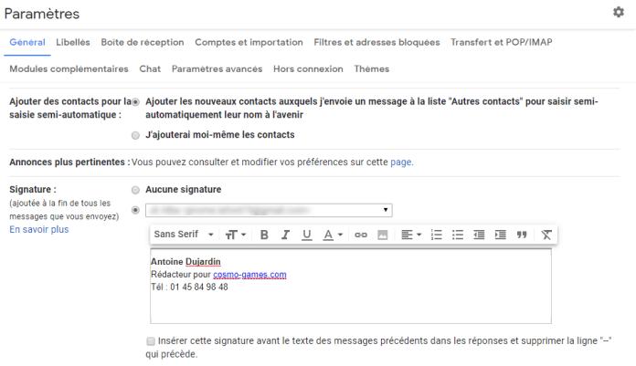 Ajouter une signature Gmail