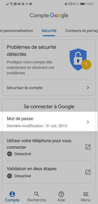Android mot de passe Google