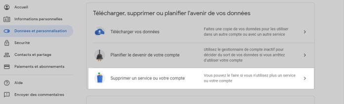 Supprimer un service - Comment supprimer un compte Gmail - guide