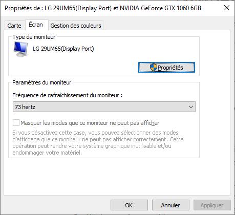 fréquence de rafraîchissement overclockée dans les paramètres d'affichage Windows 10