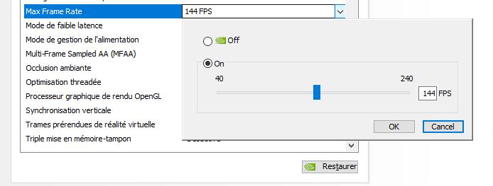 panneau de configuration nvidia-max-frame-rate