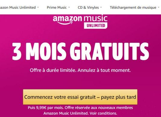 Amazon Music Unlimited - 3 mois d'abonnement gratuit