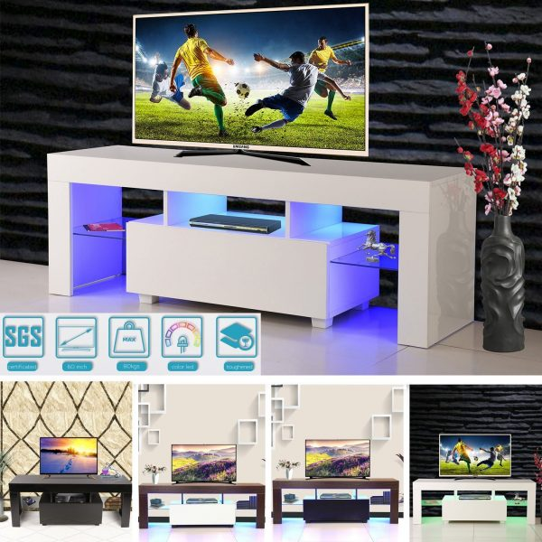 modern tv cabinet white 130cm stand unit rgb led light