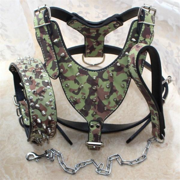 Unisex New Spiked Studded Leather Dog Harness Tactical Collar Leash Set Pitbull Mastiff Training Fraim