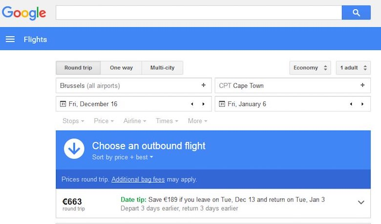 Screenshot of Google Flights flight search to show that a flexibility in route can help to save big on airfare