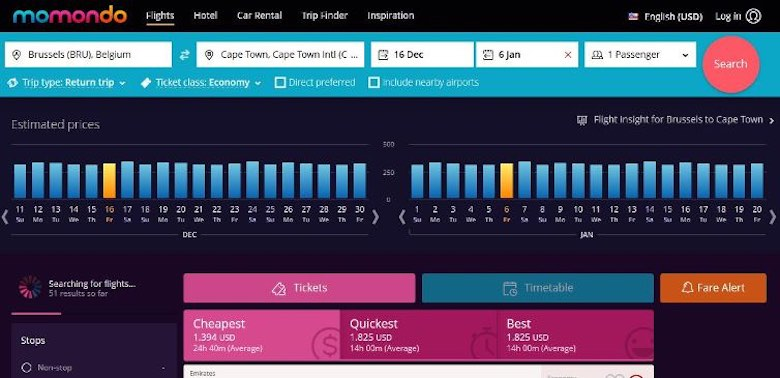 Screenshot of Momondo flight search to show that flexibility in date can help in order to save on airfare