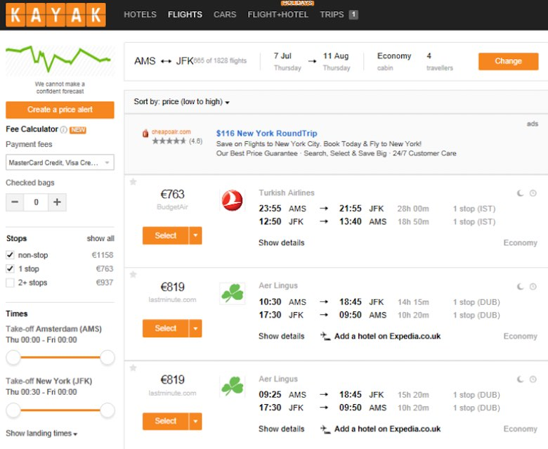 Screenshot of a Turkish Airlines offer with departure from Amsterdam on the Kayak booking page, for comparison reasons, showing the cheapest ticket price of €763