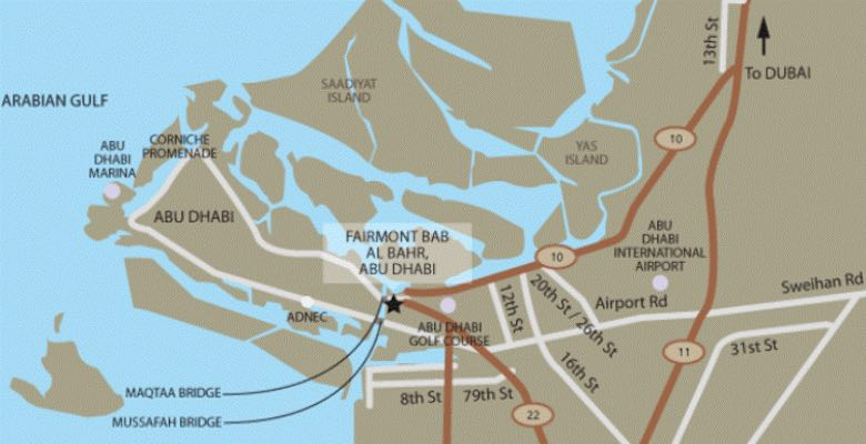 A location map for the Fairmont Bab Al Bahr hotel in Abu Dhabi