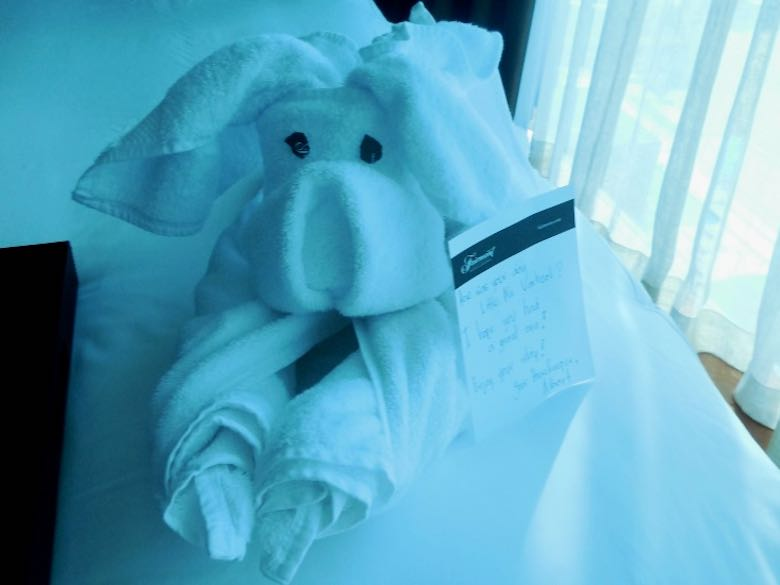 A dog made of towels and a kind note, left for the CosmopoliClan on the bed by a room maid of the Fairmont Bab Al Bahr hotel in Abu Dhabi