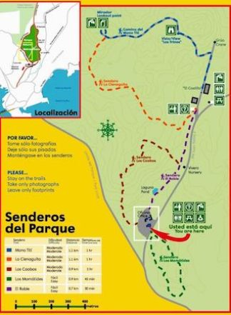 Map of the walking trails in the Parque Metropolitano in Panama City