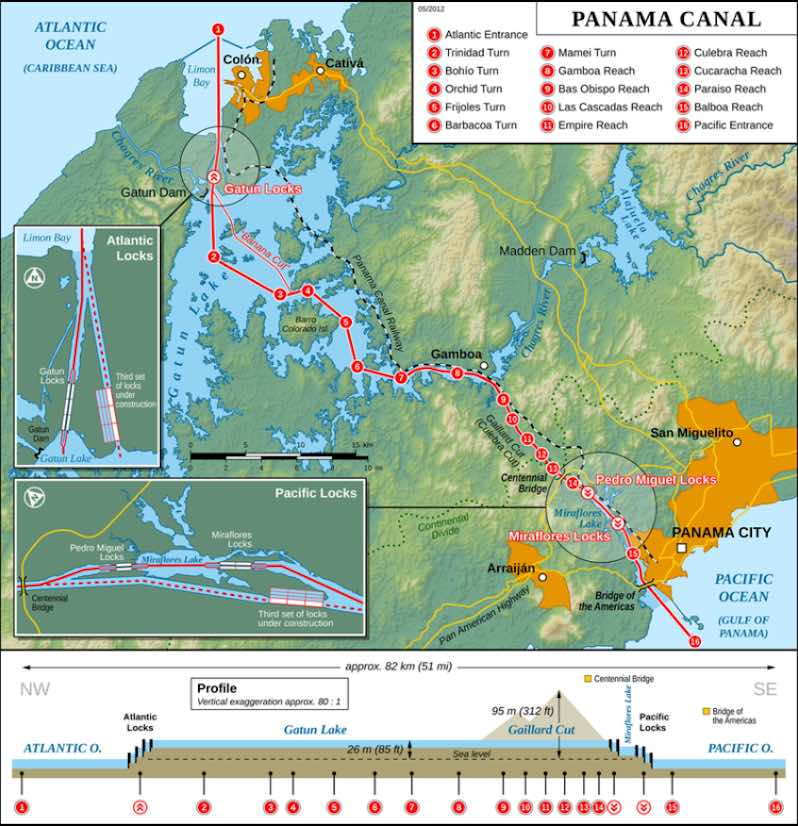 A map of the Panama Canal