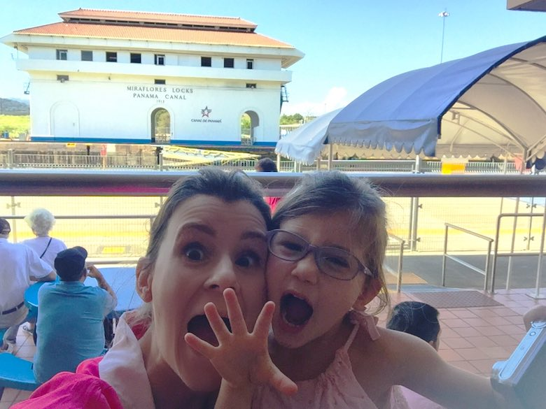 Acting crazy during our visit to the Miraflores docks