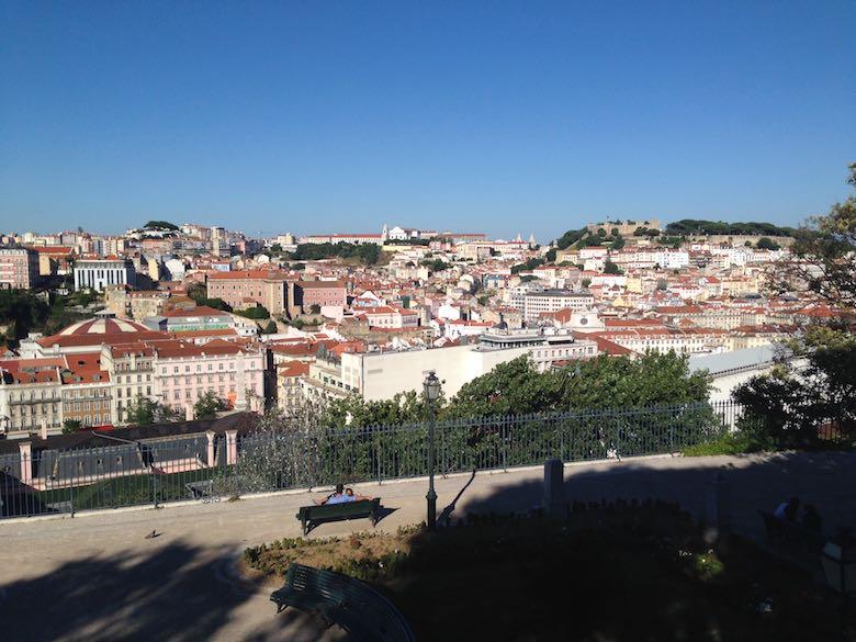 View of the city of Lisbon from the Mirador de San Pedro de Alcântara in Lisboa