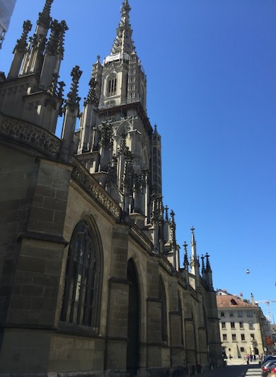 Sideview from the Bern Minster, or Berner Münster, Cathedral against a blue sky