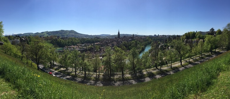 A panoramic view of the city of Bern from the Rosengarten