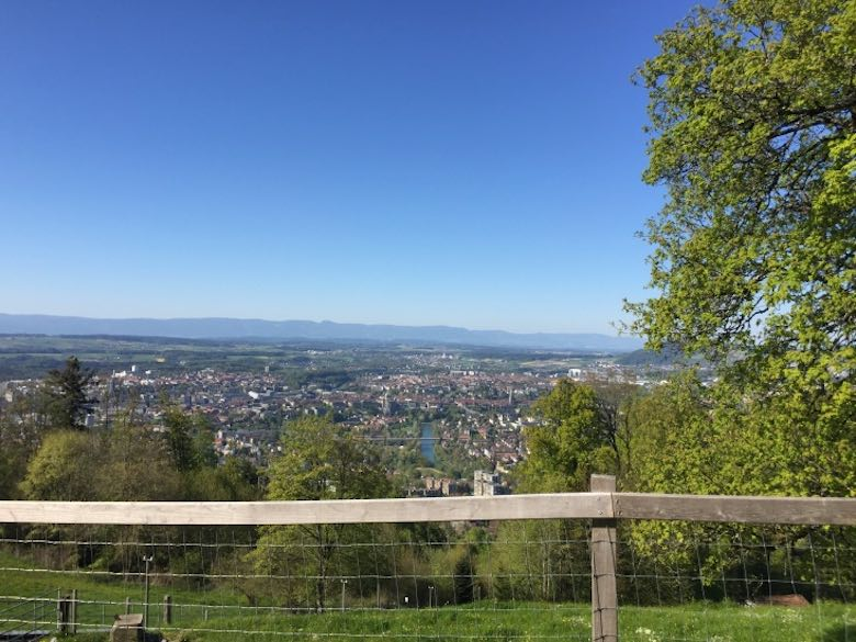 A panoramic view over Bern from the Gurten mountain