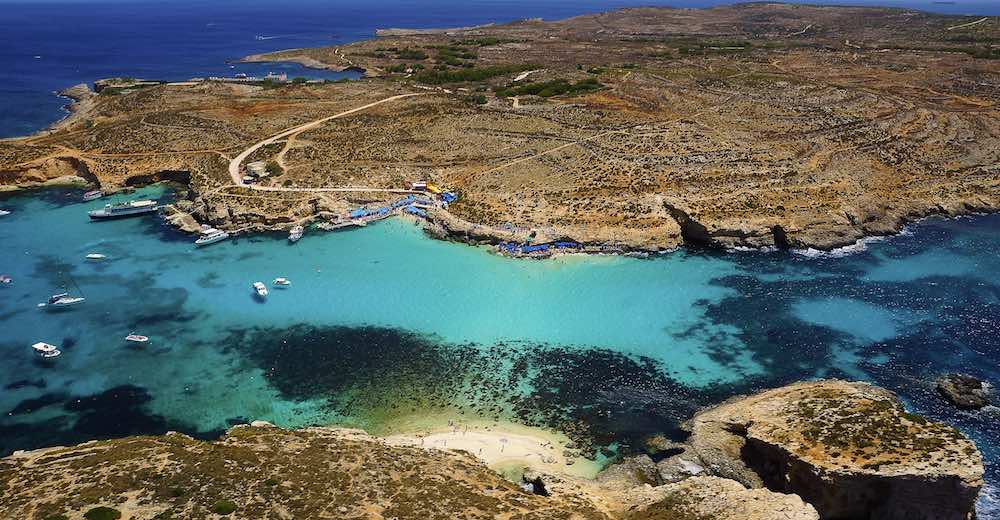 The turquoise waters of Comino island, one of the most popular places to visit in Malta