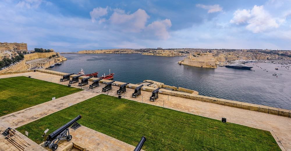 Grand Harbour views over Three Cities Malta from the saluting battery in Valletta
