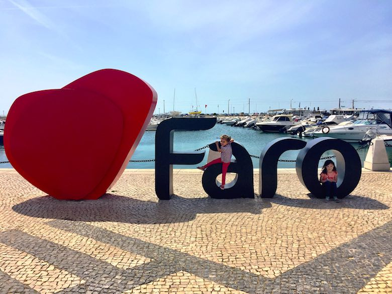Giant 'I love Faro' letters at the marina in authentic Algarve in Portugal