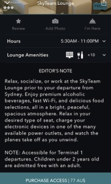 Screenshot from the LoungeBuddy app child policy, because enjoying the amenities of a lounge is a great idea during a layover or stopover