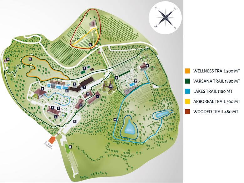 A map with the walking trails on the domain of the Palazzo di Varignana Resort & Spa near Bologna