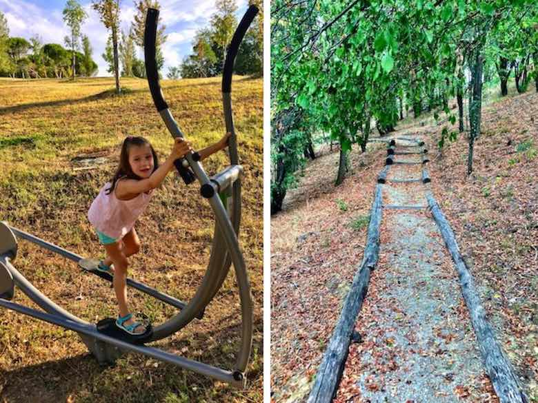 Little girl working out on an outdoor treadmill on the wellness trail at Palazzo di Varignana