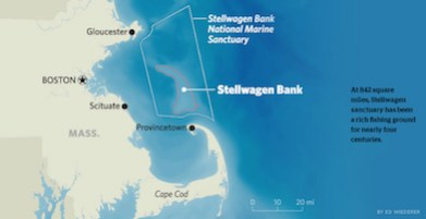 A map showing the location of Stellwagen Bank National Marine Sanctuary