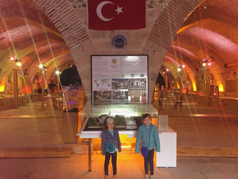 Two sisters posing in the impressive setting of the Ahşap Eserler Müzesi or Wooden Work museum in colorful Odunpazarı, the historic district of Turkish Eskişehir