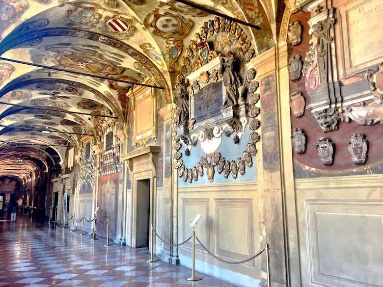 A corridor in the Biblioteca comunale dell'Archiginnasio in Bologna