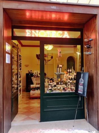 A quaint enoteca in Bologna, Italy