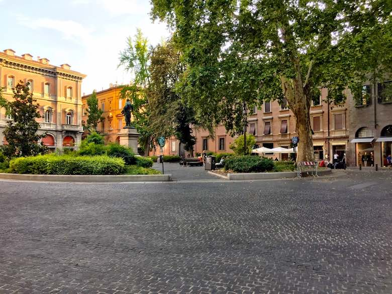Piazza Minghetti in the Cavour district of vibrant Bologna, Italy