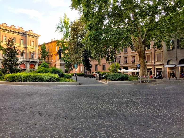 Piazza Minghetti in the Cavour district of vibrant Bologna, Italy