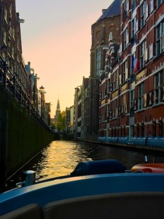 Sunset canal cruise during a mother-daughter trip to Amsterdam