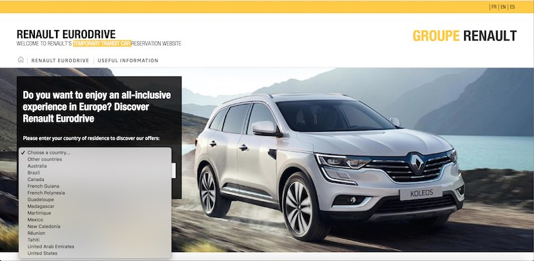 Screenshot of the Renault car leasing programme for Non-EU residents