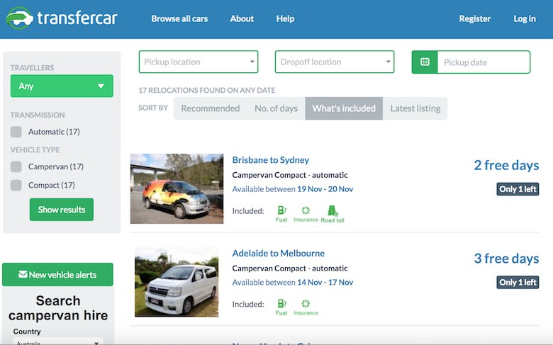 Screenshot of the TransferCar relocation website page