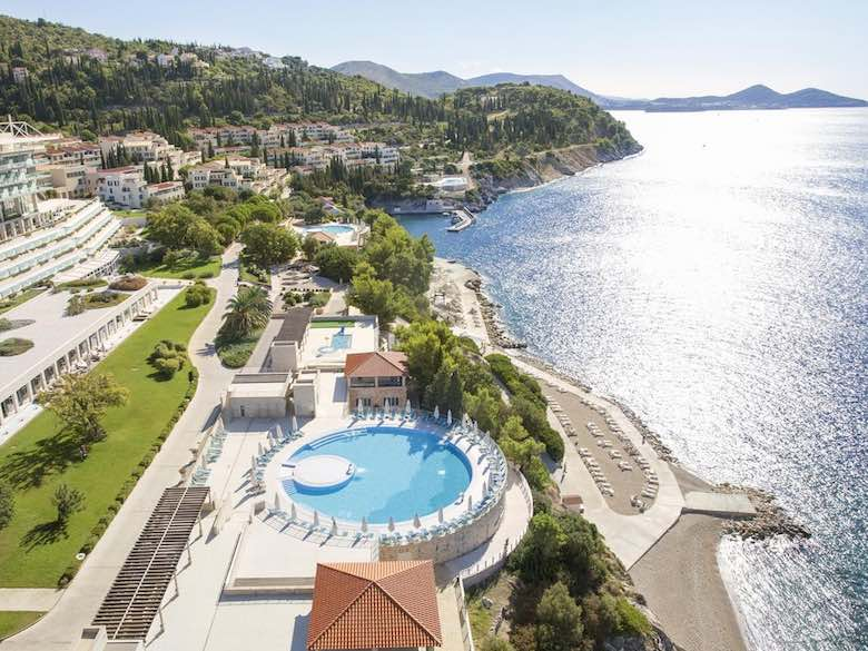 Aerial view of Sun Gardens in Dubrovnik, Croatia featured in this article with family-friendly luxury resorts in the Mediterranean