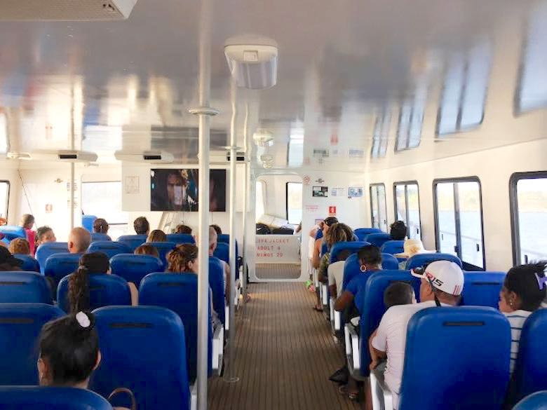 Interior view of the ferry from Panama City to Isla Contadora
