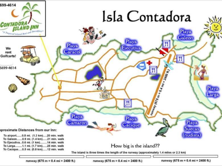 Map of Isla Contadora, one of the Las Perlas islands near Panama City, Panama