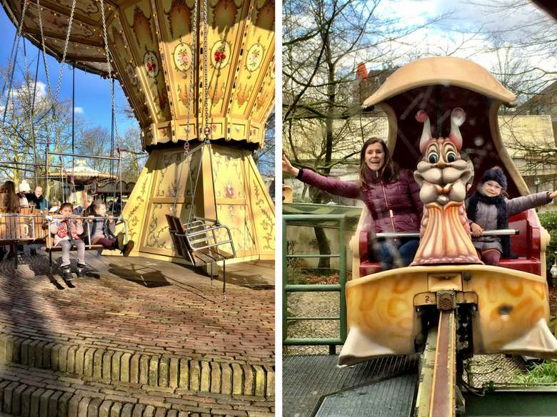 Twee kleine meiden en hun mama genieten van de attracties in het Marerijk van de Efteling