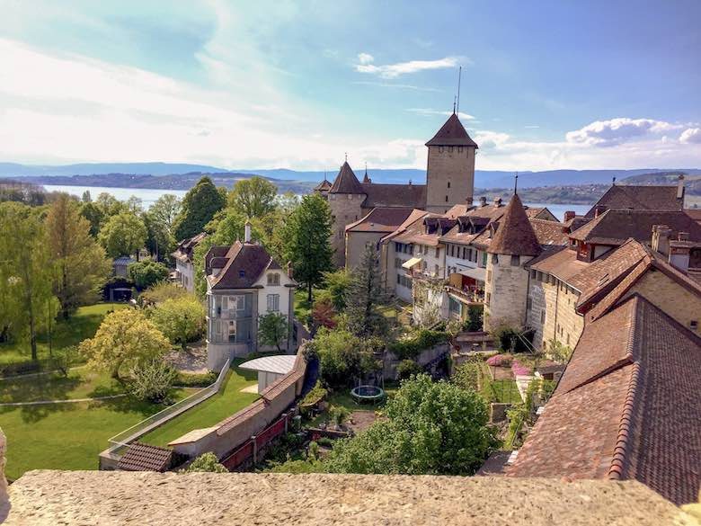 View over medieval Murten from the city's ramparts